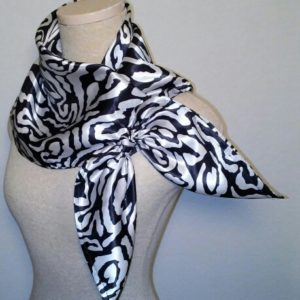 Large Nautical Square in Black and White Swirls