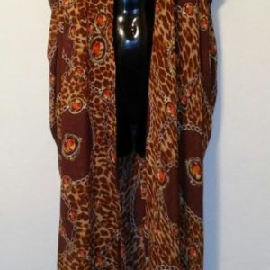 Scarf Vest - Chocolate, Orange and Mustard Print