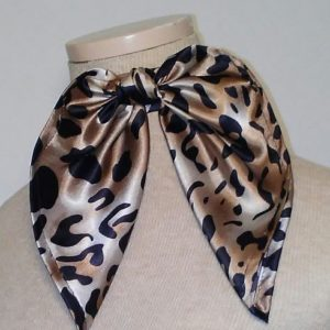 Traditional Neckerchief - Black and Taupe Animal Print