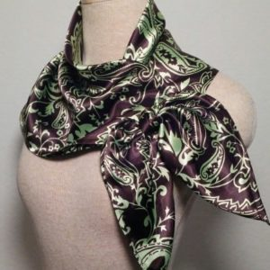Large Nautical Square - Chocolate and Mint Green Paisley