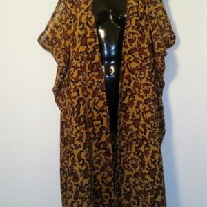 Scarf Vest - Caramel, Black and Brown Animal Print