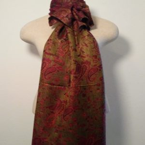 Long Scarf - Crimson and Olive Green