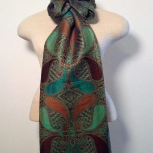 Long Scarf - Green, Teal and Brown