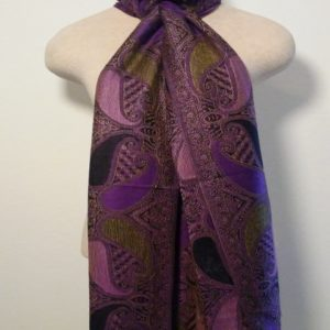 Long Scarf - Purple, Green and Black