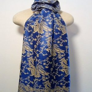 Long Scarf - Royal Blue and Cream