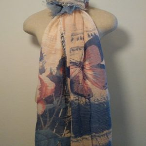 Long Scarf - Sky Blue and Pink