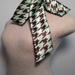 Slim Neckerchief - Chocolate and Mint Green Houndstooth