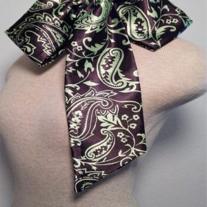 Slim Neckerchief - Chocolate and Mint Green Paisley
