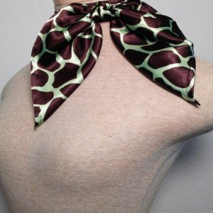 Traditional Neckerchief - Chocolate and Mint Green Giraffe Print