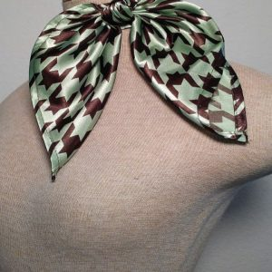 Traditional Neckerchief Chocolate and Mint Green Houndstooth