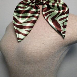 Traditional Neckerchief - Chocolate and Mint Green Zebra Print