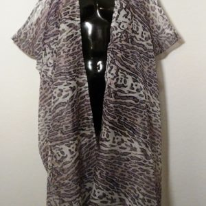 Scarf Vest - Gray, Black and White Animal Print