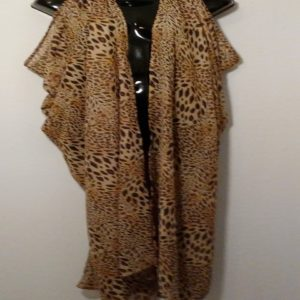 Scarf Vest - Brown Animal Print