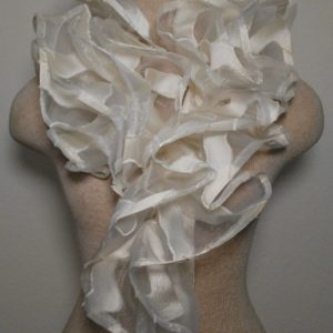 Ruffle Collar - Ivory Irridescent Triangles